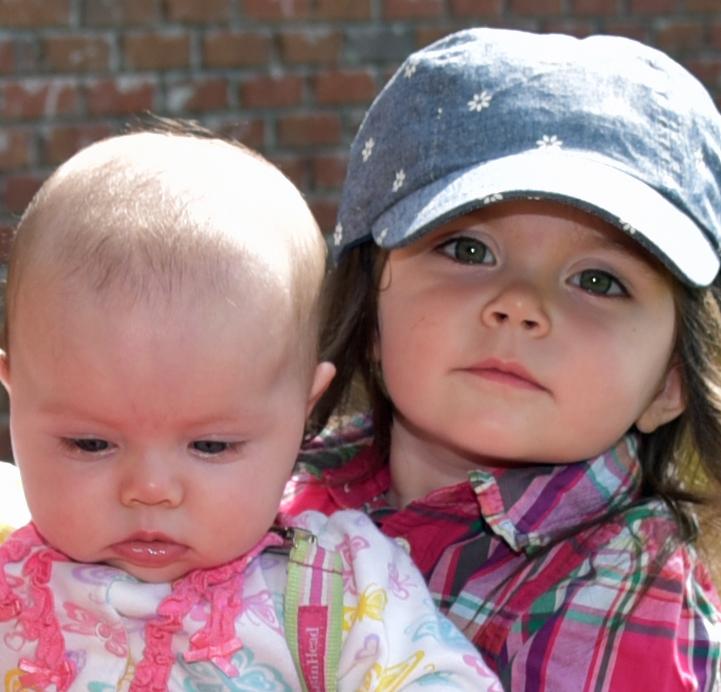 Lydia and Elizabeth in wagon